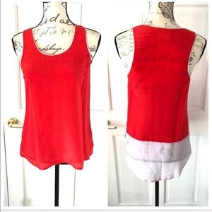 Maeve Silk Sleeveless Tank Top Blouse Pink Red 2